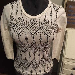 J Crew Factory embroidered diamond long sleeve top